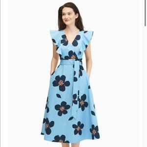 NWT Kate Spade Blue Grand Flora Poplin Midi Dress